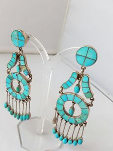 Navajo earrings with turquoise (sleeping beauty) - handmade by master F - never worn