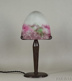 Muller Frères - French Art Deco Lamp - wrought iron and coloured glass