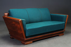 A mahogany veneer sofa in Art Deco style, early 20th century