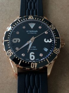 Eterna Lady Kontiki Diver Black Dial Rose Gold PVD coated