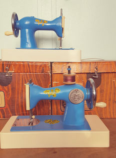 Two old metal children's sewing machines in nice condition, with original box, USSR, approximately 1963