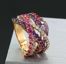 Cocktail ring with brilliants, tourmalines and amethysts approx. 6.52 ct, of which brilliants totalling 1.23 ct in 750 rose gold