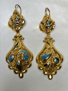 Large enamelled earrings – Bourbon Era (19th Century)