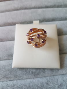 Exclusive rose gold ring with amethyst –Made in Italy