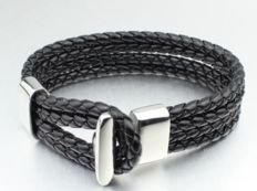 Bracelet in braided black leather and surgical steel - 21 cm