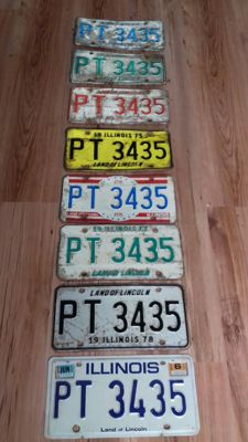8 USA License plates unique set 1970s