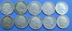 The Netherlands – 5 cents 1850/1887 Willem III (10 different ones) – silver