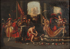 Northern European School (folk art) - 18th C. - Salome receiving the head of John the Baptist -