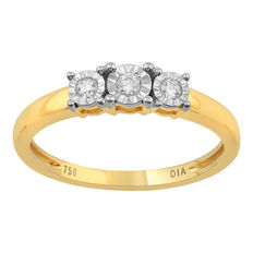 Brand new 18kt yellow and white gold round diamond engagement ring set  wiith round diamonds of  0.10ct , G colour and SI clarity. Size 54/N (free resizing in Antwerp)