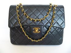 "Lot of 2: Chanel - Classic double-flap ""medium"" handbag and Chanel mirror Duo"
