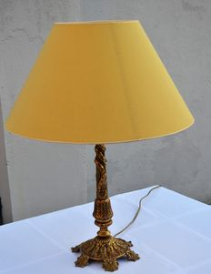 Gold-plated brass lamp base decorated with twisted rope and finished with a beautiful lampshade - France - circa 1900