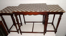 Mahogany tables with tiles, mid 20th century