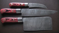 Set of three handmade cooks knives: 1 cooks axe, 1 long chef's knife, 1 tournee knife - 200 + layers of damask steel