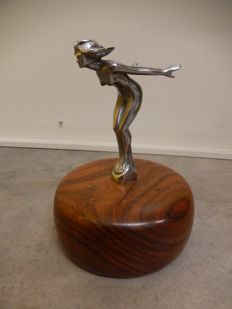 Very Rare Beautiful Vintage Original Metal Chrome Speed Nymph Car Auto Mascot Cast on Circular Rosewood Base