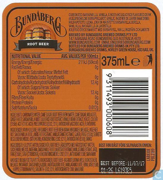 Bundaberg Root Beer Bundaberg Brewed Drinks Pty Ltd Bundaberg