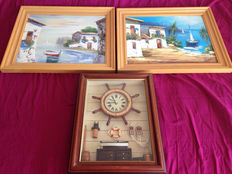 Vintage clock rudder and maritime details, and two oil on canvas paintings