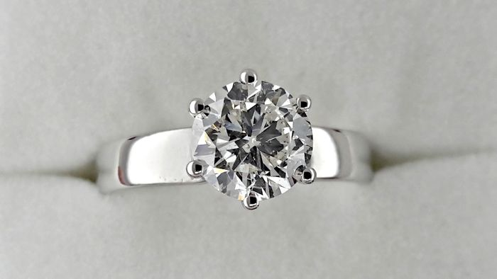 IGL 1.51 ct SI1 round diamond ring made of 18 kt white gold - size 7,5