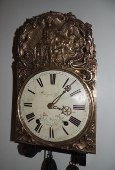 Brass verge escapement Comtoise - signed 'Croizade fils à Nogaro' - France, period 2nd half of 19th century