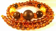 Baltic Amber round beads long necklace , No reserve, 98 grams
