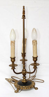 Antique copper electric lamp, French style, 20th century