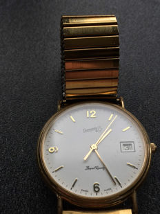 Gold plated Eberhard and Co. royal quartz men's watch around 1980 - 1990 with regal gold plated flexible strap.