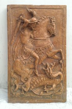 Saint George and the dragon - big high relief altarpiece in Verona red marble - Italy - Genoa - 18th century