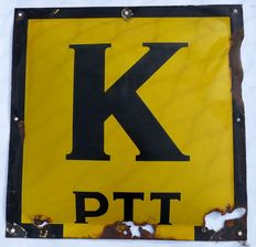 Enamelled sign for PTT cable designation - presumably 1930s