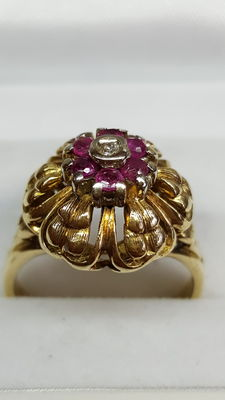 14 karat gold vintage ring with Rubies and Diamonds.