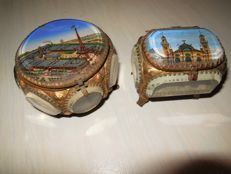 Two crystal boxes, Porte bijoux glass with bronze kit and Parisian city scenes