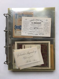 Folder with collection of old business cards - 19th/20th century