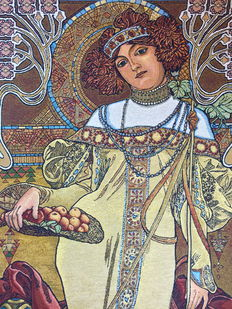 """Life size Belgian tapestry """"Autumn"""" from """"The Four Seasons"""" by Alphonse Mucha, with certificate of authenticity and origin - Art nouveau style"""
