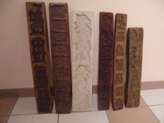 Six fruitwood speculaas moulds, cookie moulds, early 20th century