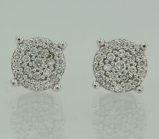 14 kt White gold stud earrings set with 50 brilliant cut diamonds, 0.37 ct, width 7.6 mm