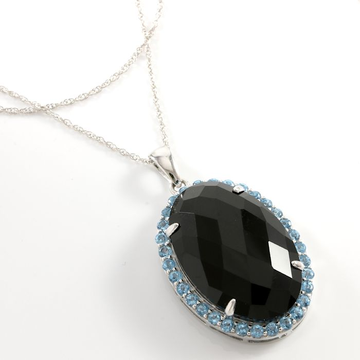 14kt white gold pendant necklace set with onyx and swiss blue topaz 14kt white gold pendant necklace set with onyx and swiss blue topaz aloadofball Image collections