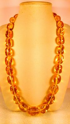 Genuine Baltic amber honey colour necklace,  113 grams