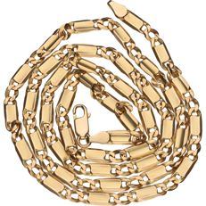 Yellow gold, Figaro link necklace of 14 kt – 62 cm.