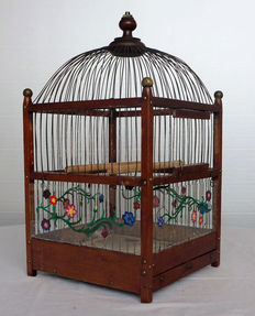Wooden bird cage with copper finish
