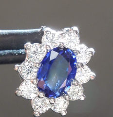 Cocktail pendant with 0.88 ct sapphire and diamonds (F VS) totalling 0.50 ct