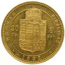 Hungary - 20 francs = 8 forint 1880 KB - gold