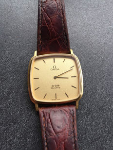 Omega De Ville quartz 1365 men's watch - 750 / 18 kt - with original crocodile leather strap by Omega and yellow gold dial - 1980s