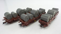 Roco H0 - 4396D/46304 - 3 Open freight carriages, each loaded  with 5 different sheet steel rolls type Shis of the SNCB.