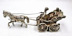 Silver miniature carriage with 1 horse