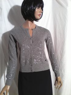 Cerrutti 1881 – Cardigan with silvery sequins.