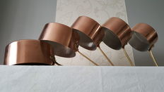 Series of 5 tinned copper pans, good quality, stamped TOURNUS FRANCE.