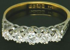 Ring,- 5 Stoner - 18K Yellow Gold - 5 Clean Round Cut diamonds,- 0.27ct. VS2H