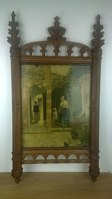 Beautifully carved oak neo-Gothic frame (framework), The Netherlands, early 20th century