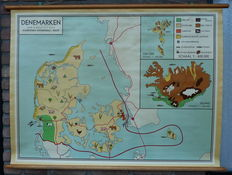 Old school map of Denmark and Iceland