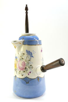 French porcelain chocolate dispenser, hand-painted and rosewood