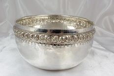 Sterling silver bowl, hammered silver, Asia