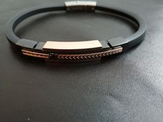 H°°O Italian Design bracelet – Steel and black diamonds